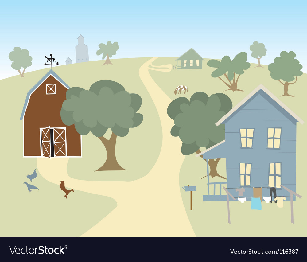 Farm house landscape vector | Price: 1 Credit (USD $1)