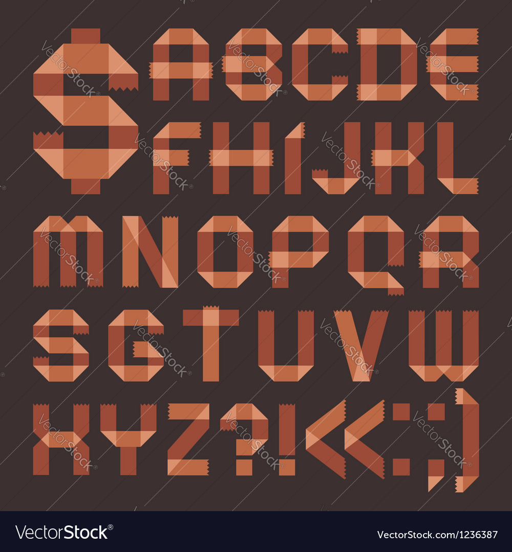 Font from brownish scotch tape - roman alphabet vector | Price: 1 Credit (USD $1)