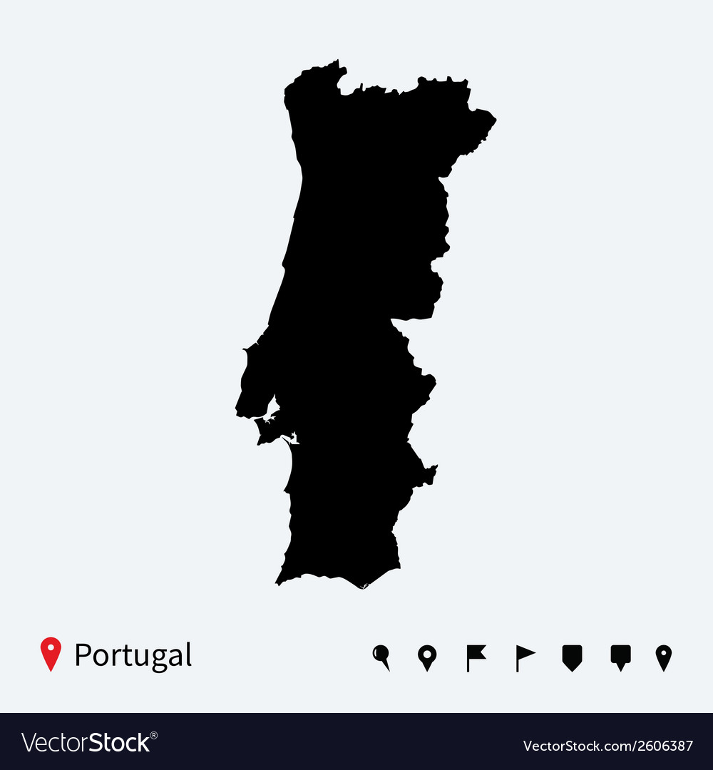 High detailed map of portugal with navigation pins vector | Price: 1 Credit (USD $1)