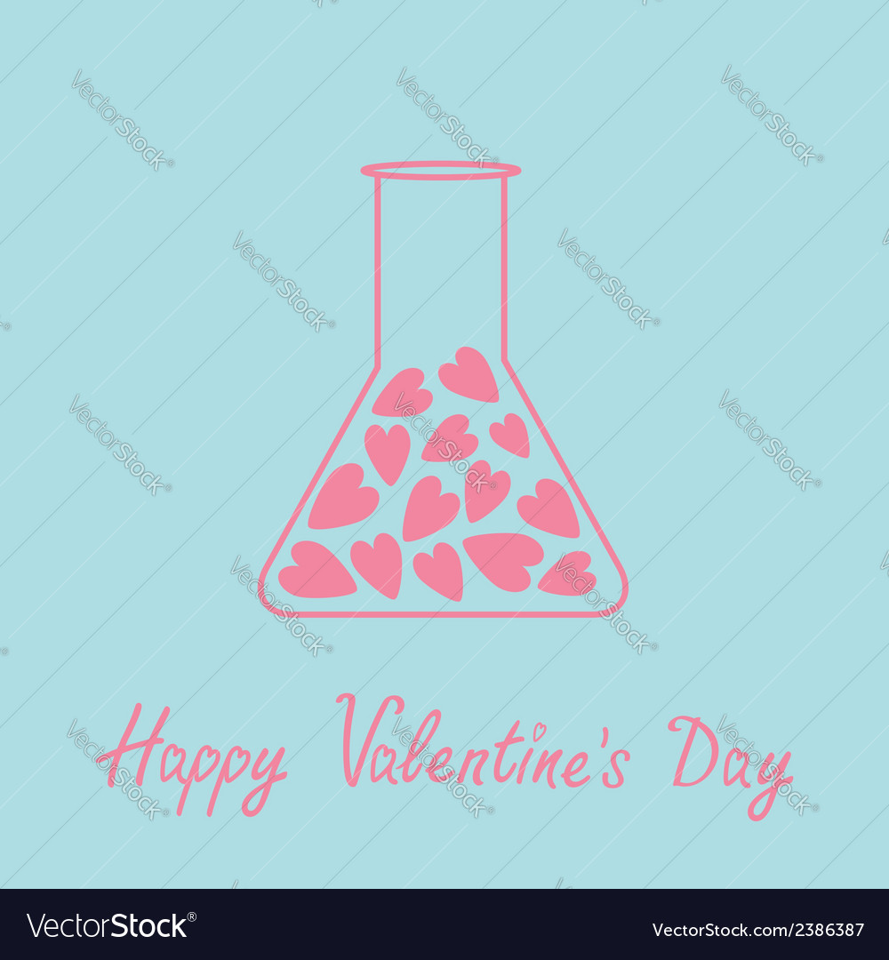 Love laboratory glass with hearts inside pink and vector | Price: 1 Credit (USD $1)