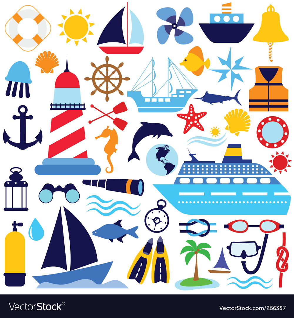 Nautical icon set vector | Price: 1 Credit (USD $1)