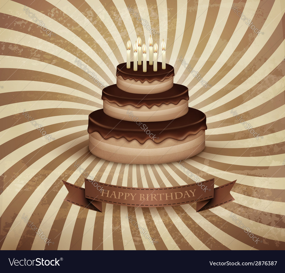 Retro background with birthday chocolate cake vector | Price: 1 Credit (USD $1)