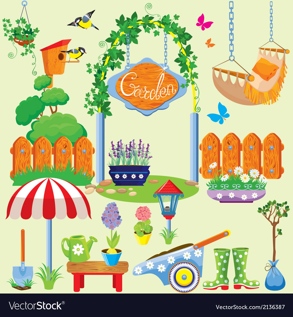 Spring and summer village and garden set with flow vector | Price: 1 Credit (USD $1)