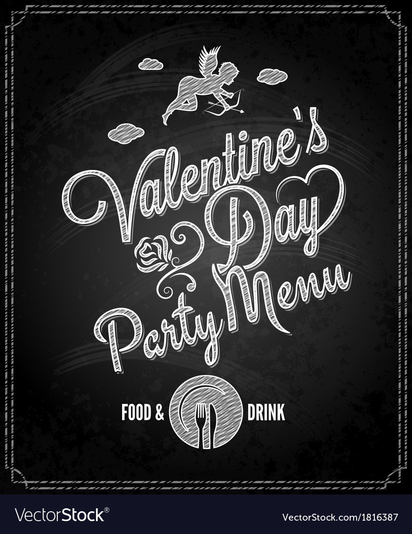 Valentines day chalkboard menu background vector | Price: 1 Credit (USD $1)