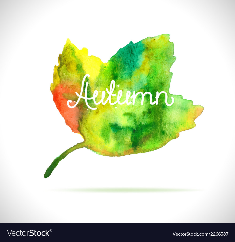 Watercolor leaf design element vector | Price: 1 Credit (USD $1)