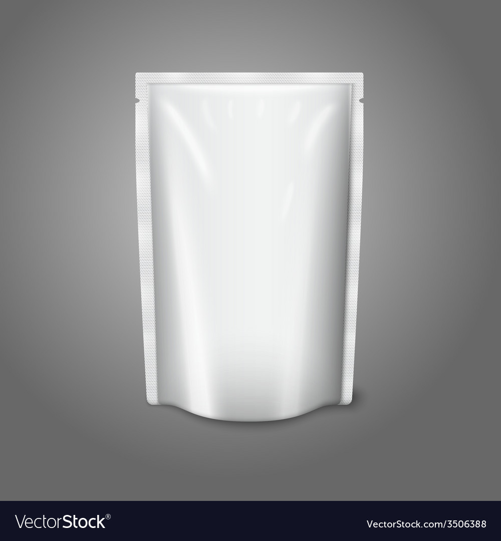 Blank white realistic plastic pouch isolated on vector | Price: 1 Credit (USD $1)