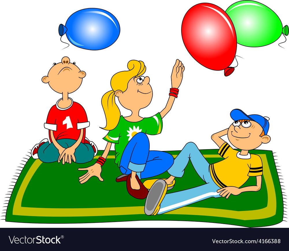 Children in the park cartoon vector | Price: 1 Credit (USD $1)