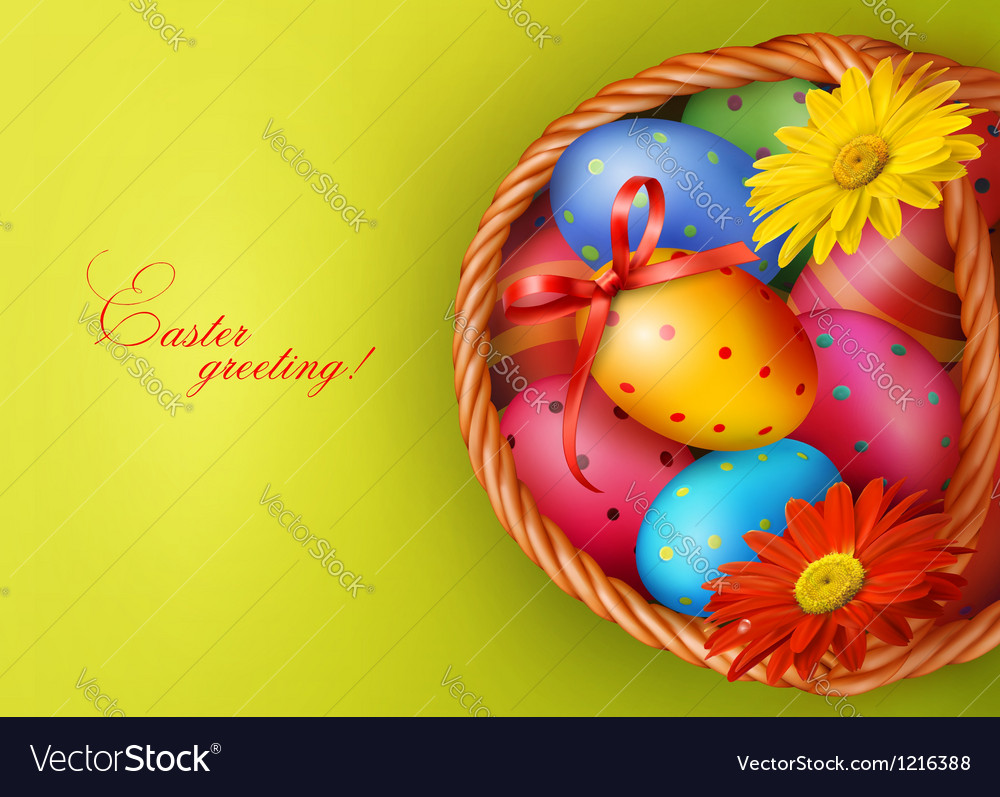 Easter background with easter eggs and flowers vector | Price: 1 Credit (USD $1)