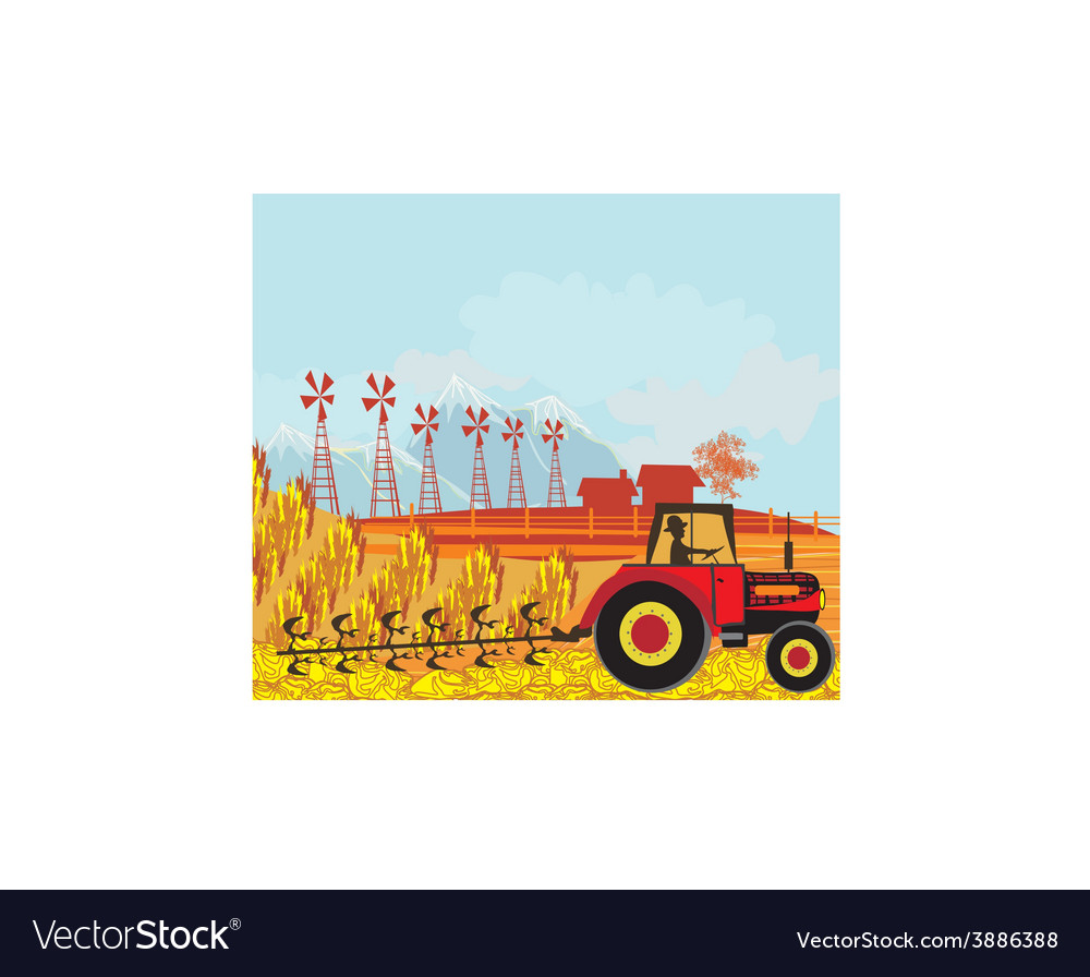 Farmer plows the field vector | Price: 1 Credit (USD $1)