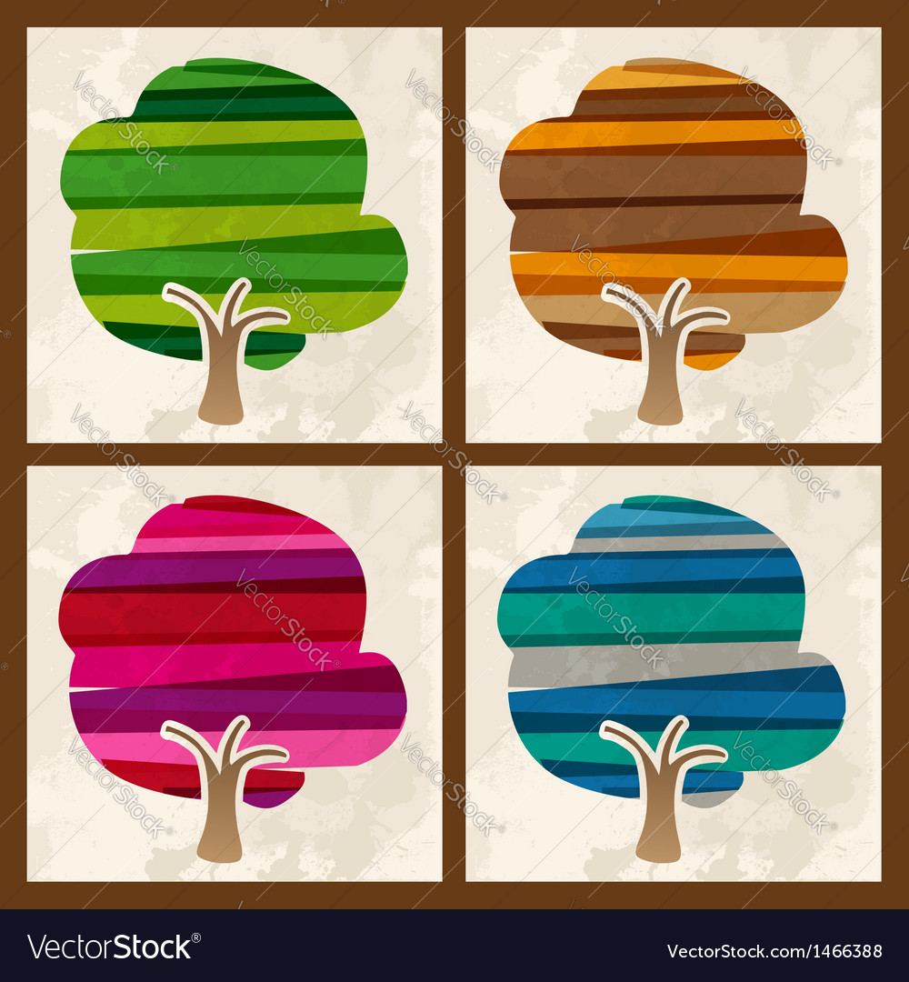 Four season tree set vector | Price: 1 Credit (USD $1)