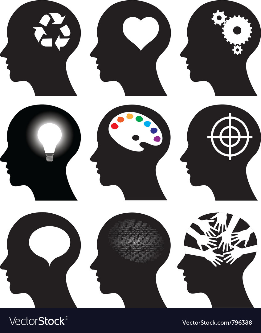 Head icons with idea symbols vector | Price: 1 Credit (USD $1)