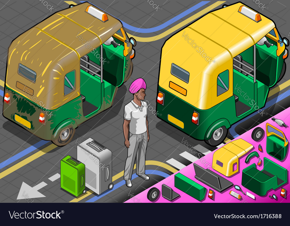 Isometric indian rickshaw in rear view vector | Price: 1 Credit (USD $1)