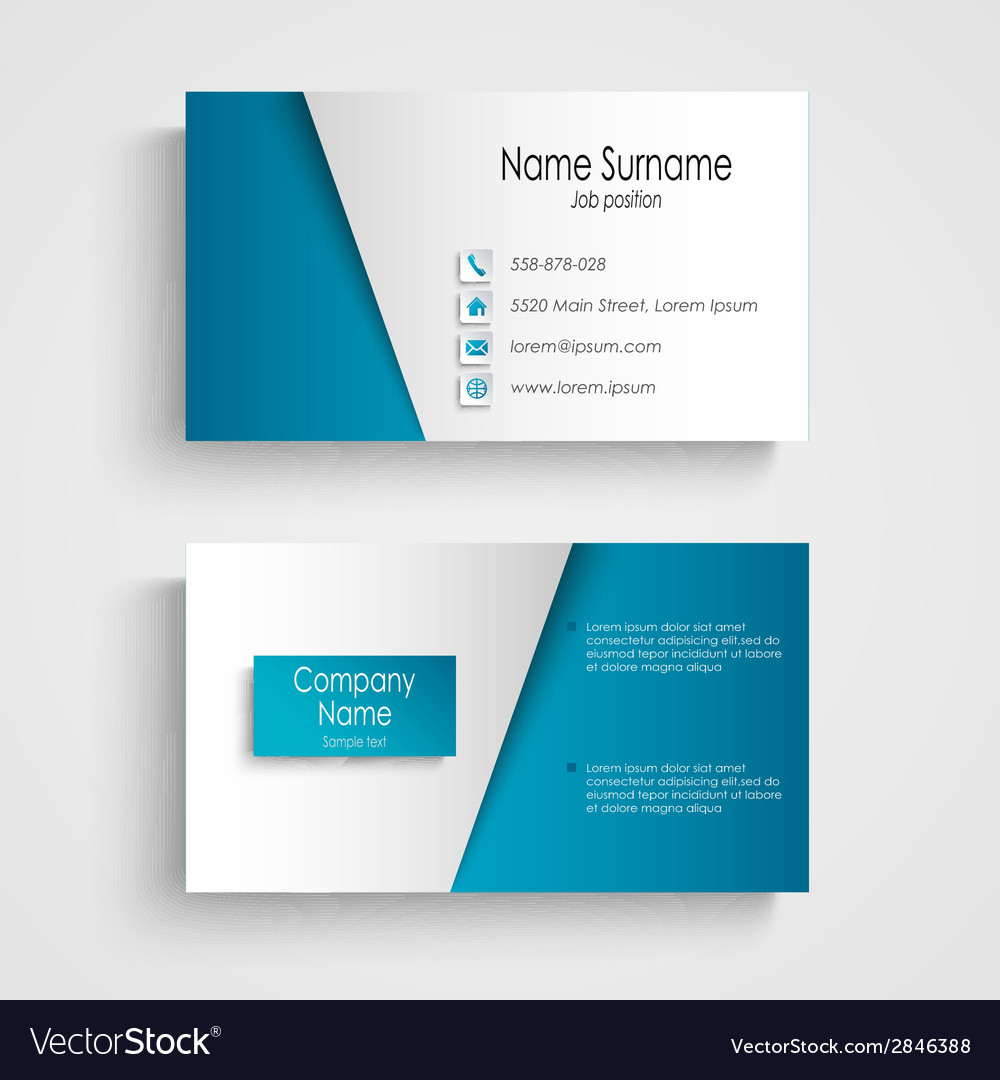 Modern light blue business card template vector | Price: 1 Credit (USD $1)
