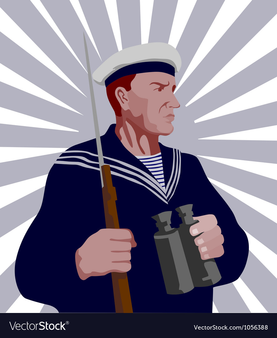 Navy sailor rifle binoculars retro vector   Price: 1 Credit (USD $1)