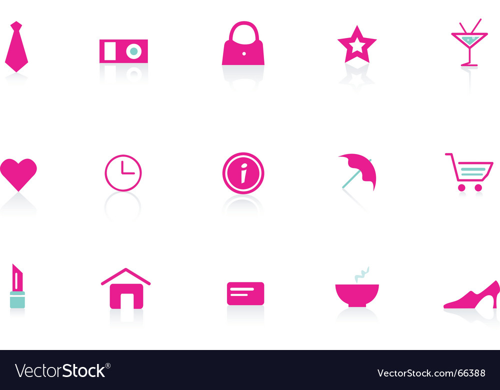 Pink icon set vector | Price: 1 Credit (USD $1)