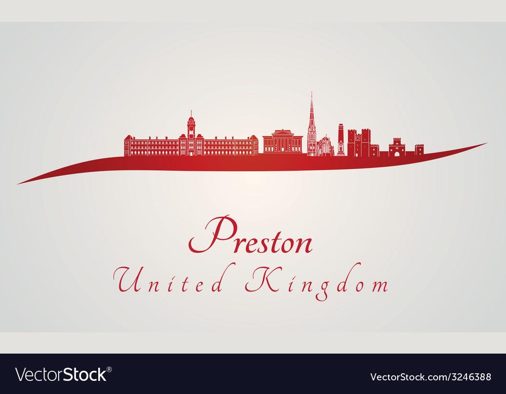 Preston skyline in red vector   Price: 1 Credit (USD $1)