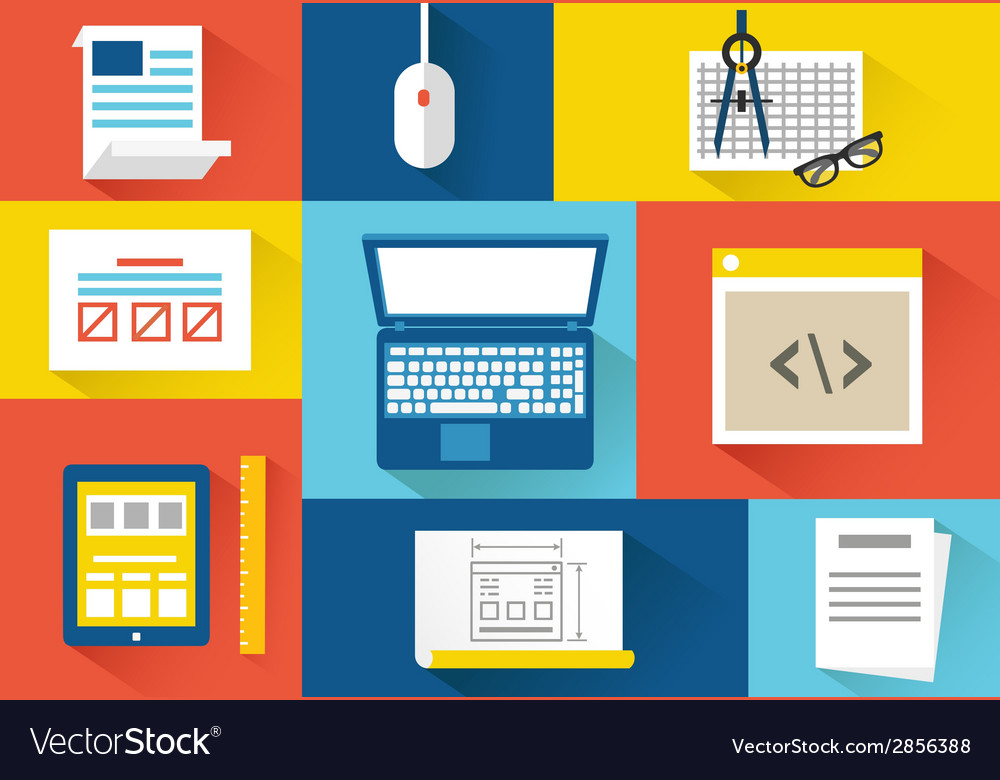 Set of equipment for programing flat style design vector | Price: 1 Credit (USD $1)