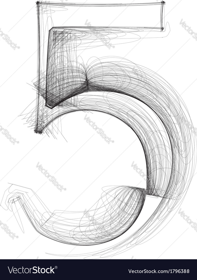 Sketch font number 5 vector | Price: 1 Credit (USD $1)