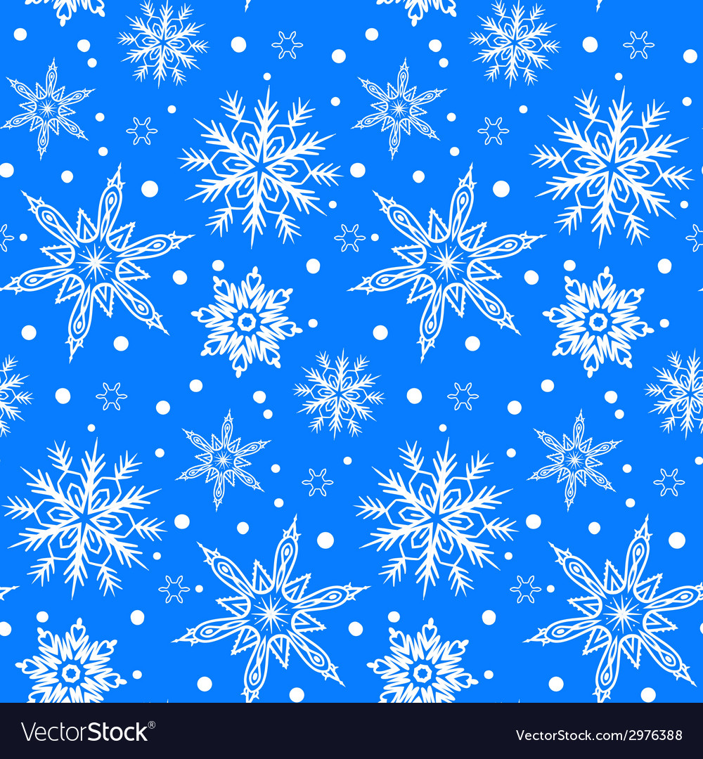 Winter pattern with various falling snowflakes vector | Price: 1 Credit (USD $1)