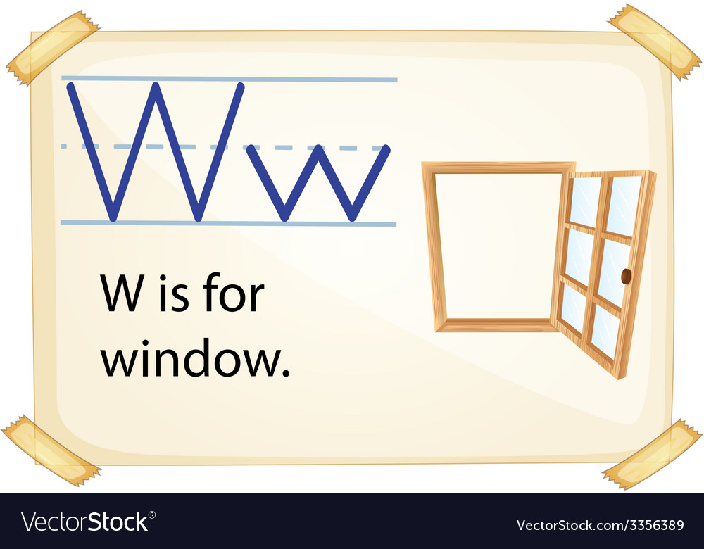 A letter w for window vector | Price: 3 Credit (USD $3)