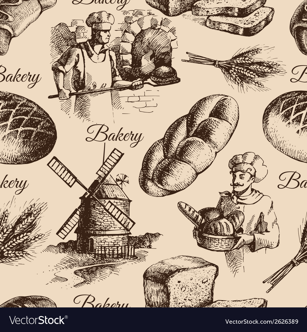 Bakery sketch seamless pattern vector | Price: 1 Credit (USD $1)