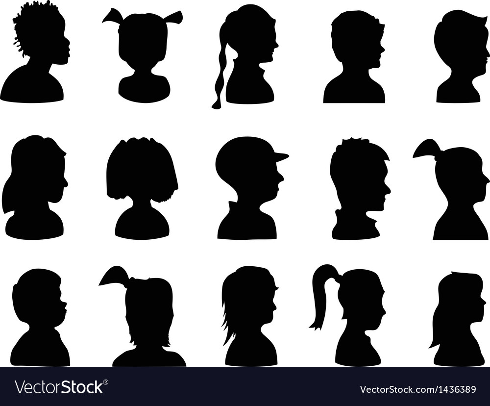 Children profile silhouettes vector | Price: 1 Credit (USD $1)
