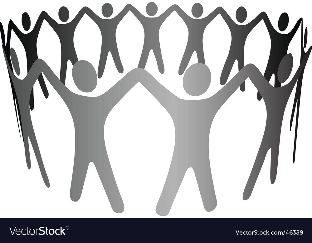 Group symbol people hold hands vector | Price: 1 Credit (USD $1)
