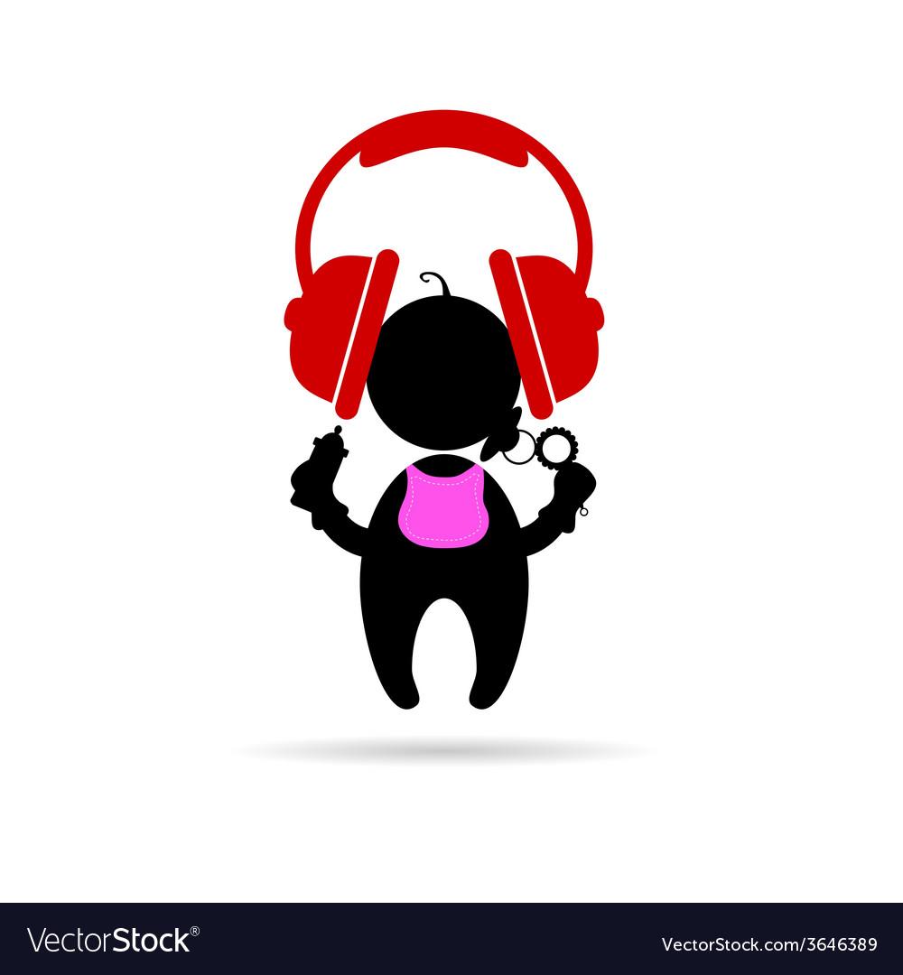 Headphones with baby vector | Price: 1 Credit (USD $1)