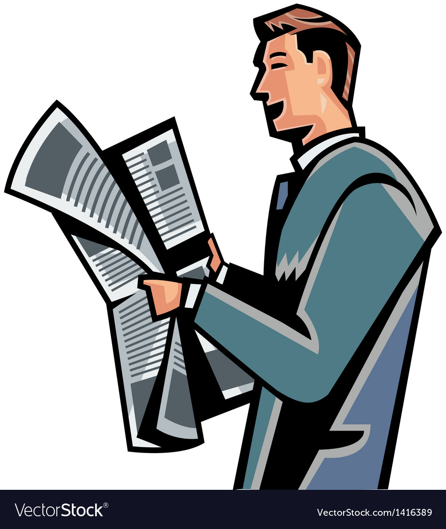 Side view of man reading newspaper vector | Price: 1 Credit (USD $1)