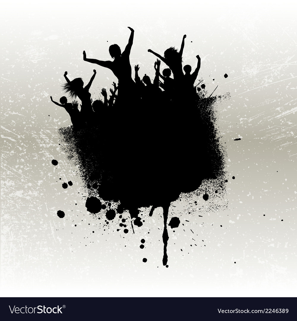 Silhouette of a party crowd on a grunge background vector | Price: 1 Credit (USD $1)