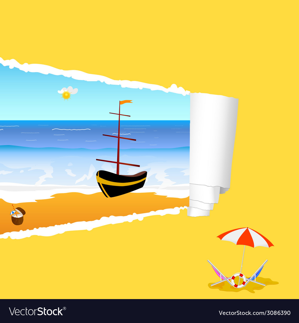 Beach with tearing paper color vector | Price: 1 Credit (USD $1)