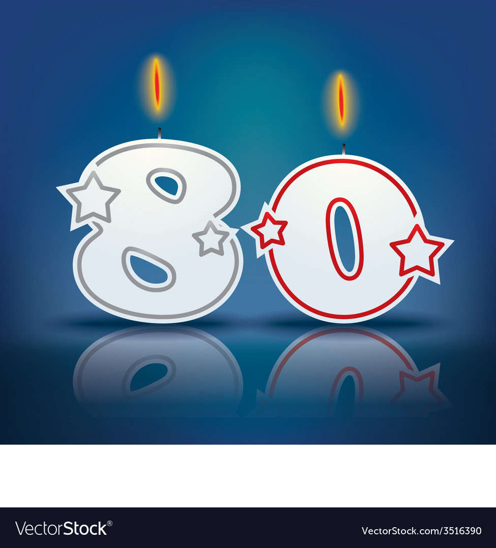 Birthday candle number 80 vector | Price: 1 Credit (USD $1)
