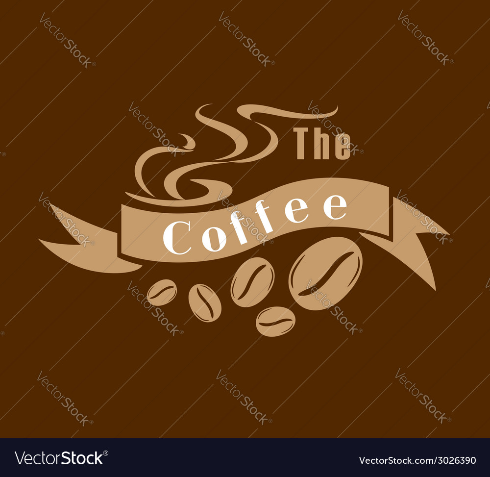 Coffee emblem in brown and white vector | Price: 1 Credit (USD $1)