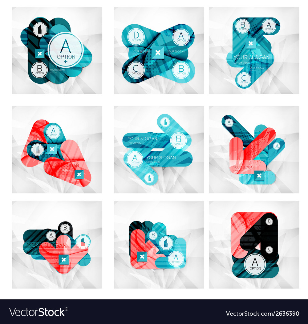 Collection of 9 arrow infographic layouts vector | Price: 1 Credit (USD $1)