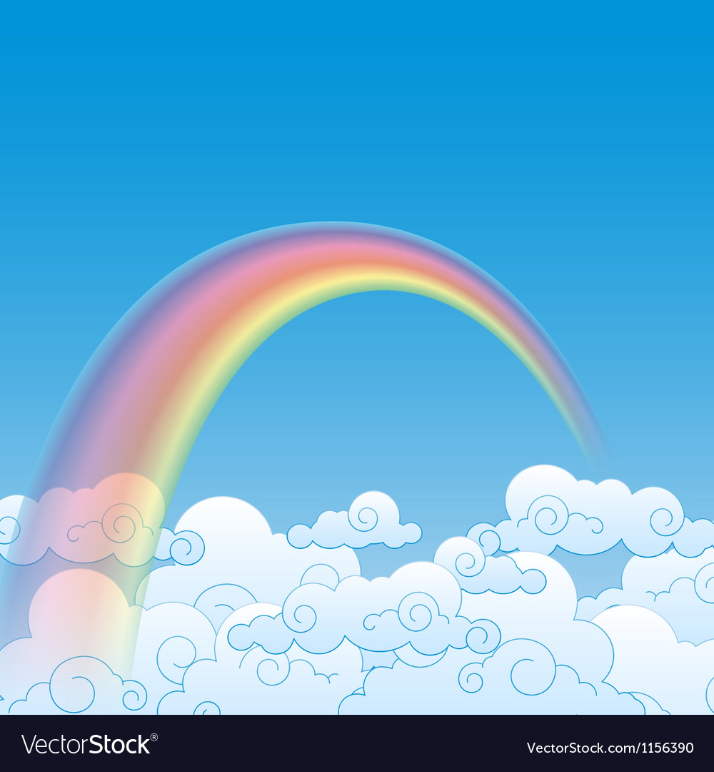 Colorful rainbow with cloud vector | Price: 1 Credit (USD $1)