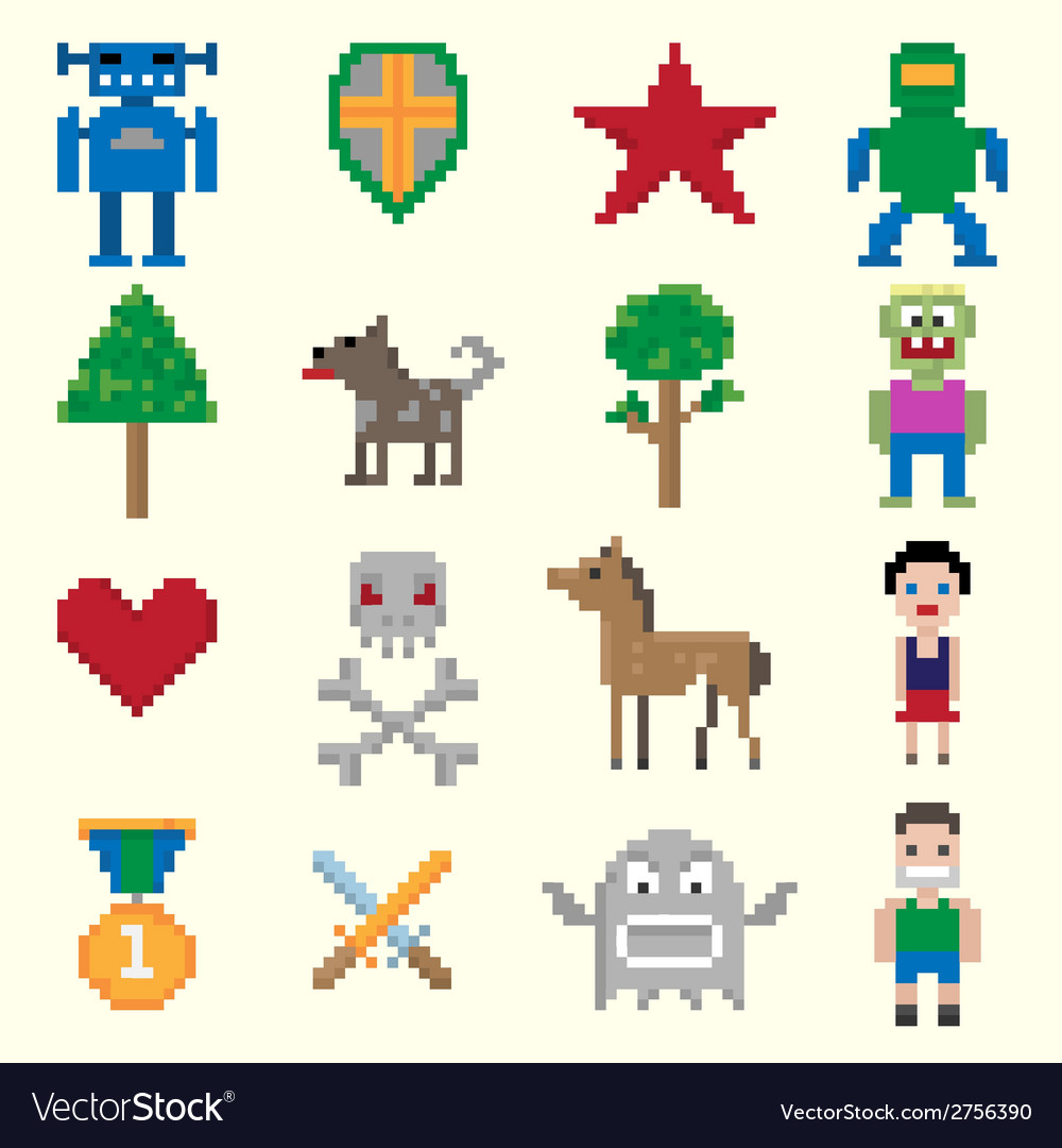 Game pixel characters vector | Price: 1 Credit (USD $1)