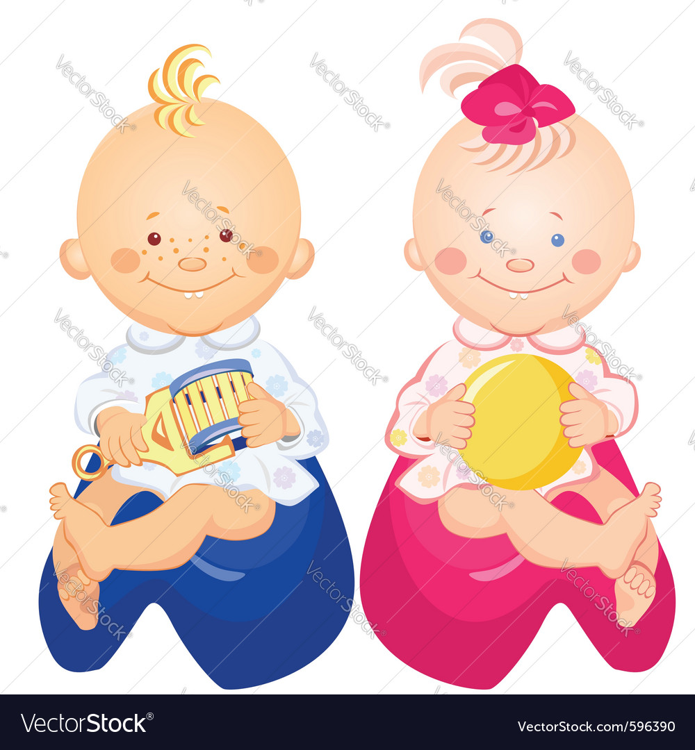 Little baby boy and girl vector | Price: 3 Credit (USD $3)