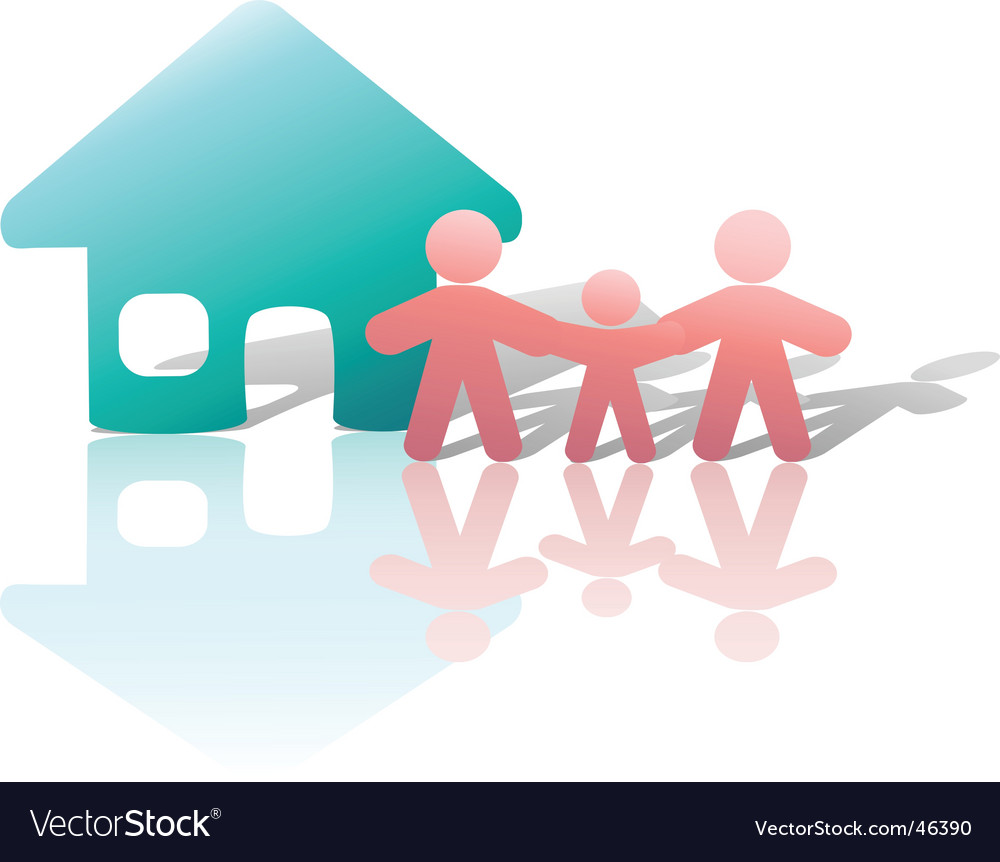 Parents and child home symbol vector