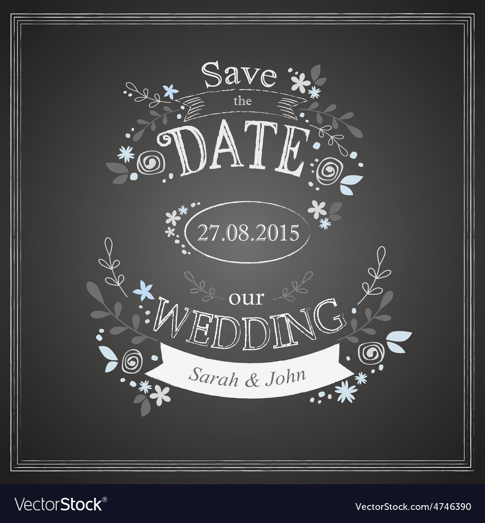 Save the date wedding card vector | Price: 1 Credit (USD $1)