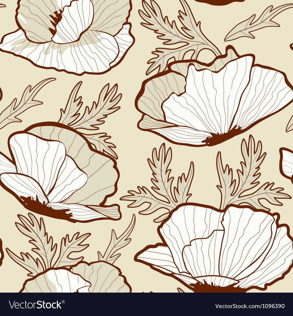 Seamless poppy pattern vector | Price: 1 Credit (USD $1)