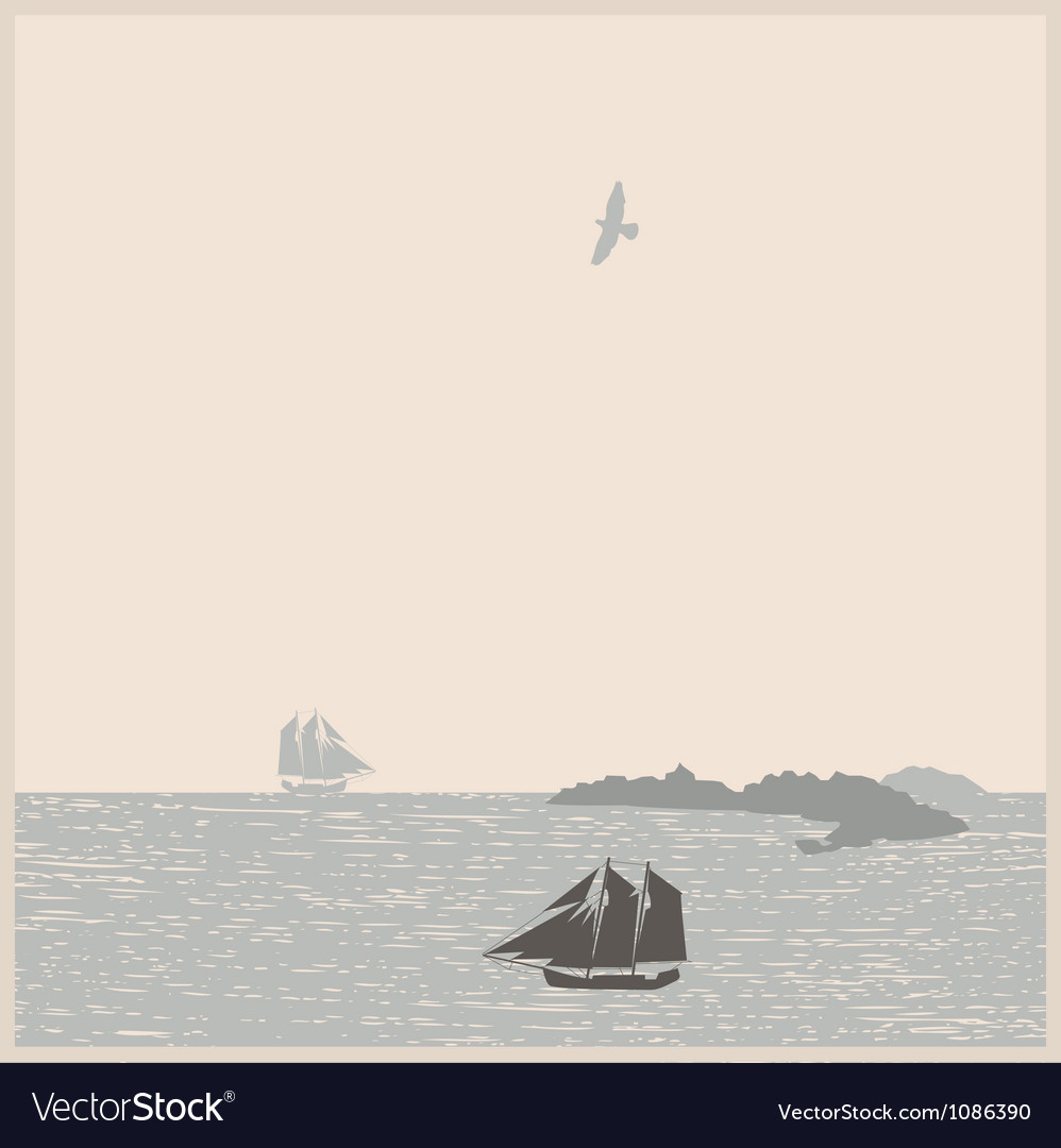 Vintage seascape with ships mountain bird vector | Price: 1 Credit (USD $1)