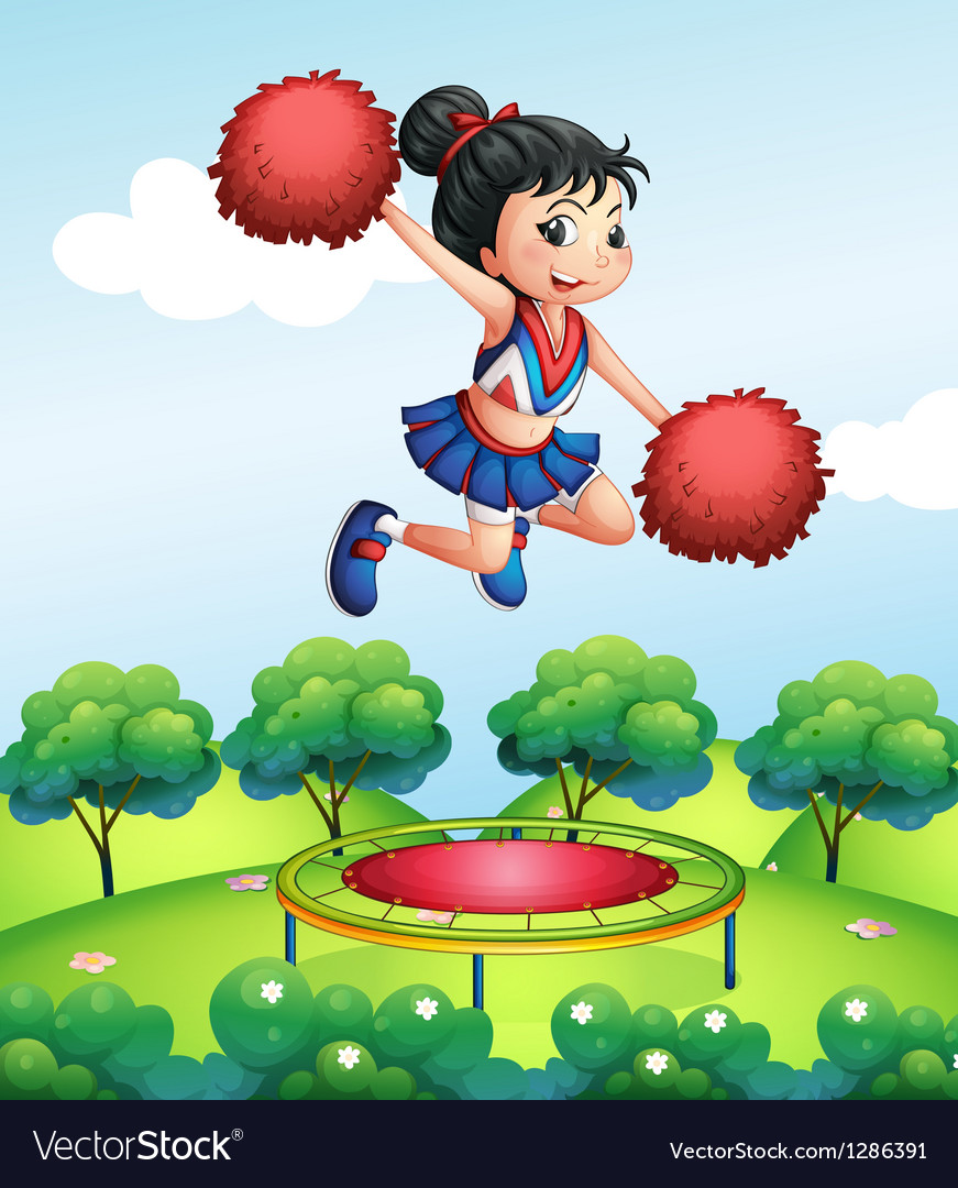 A cheerleader above a trampoline vector | Price: 1 Credit (USD $1)