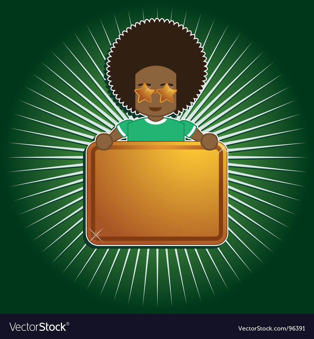 Afro boy holding sign vector | Price: 1 Credit (USD $1)