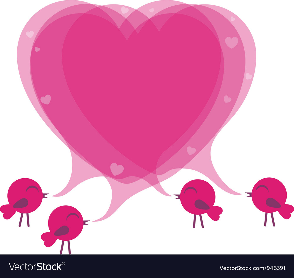 Birds with speech bubble heart vector | Price: 1 Credit (USD $1)