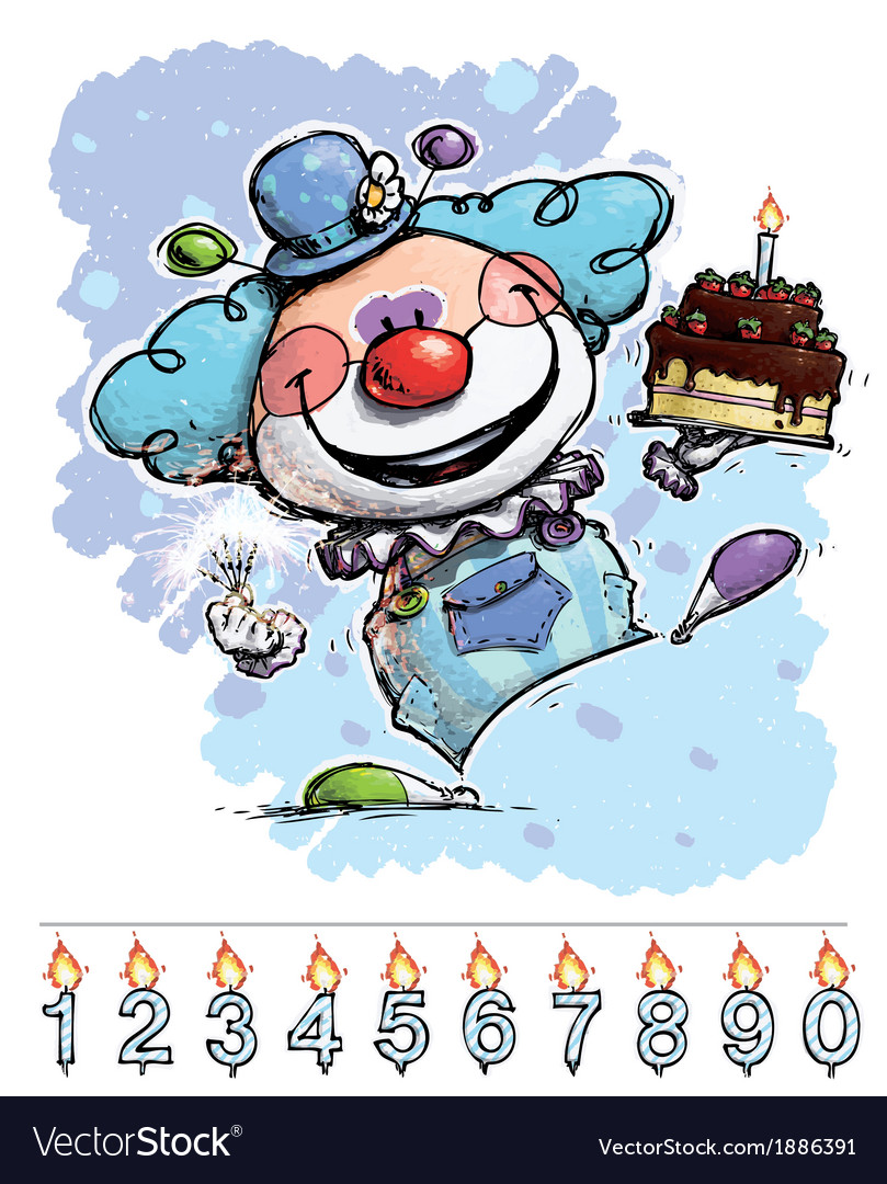 Clown carrying a boys birthday cake vector | Price: 3 Credit (USD $3)