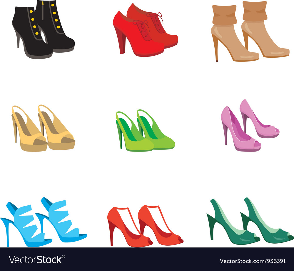 Female shoes set vector   Price: 1 Credit (USD $1)