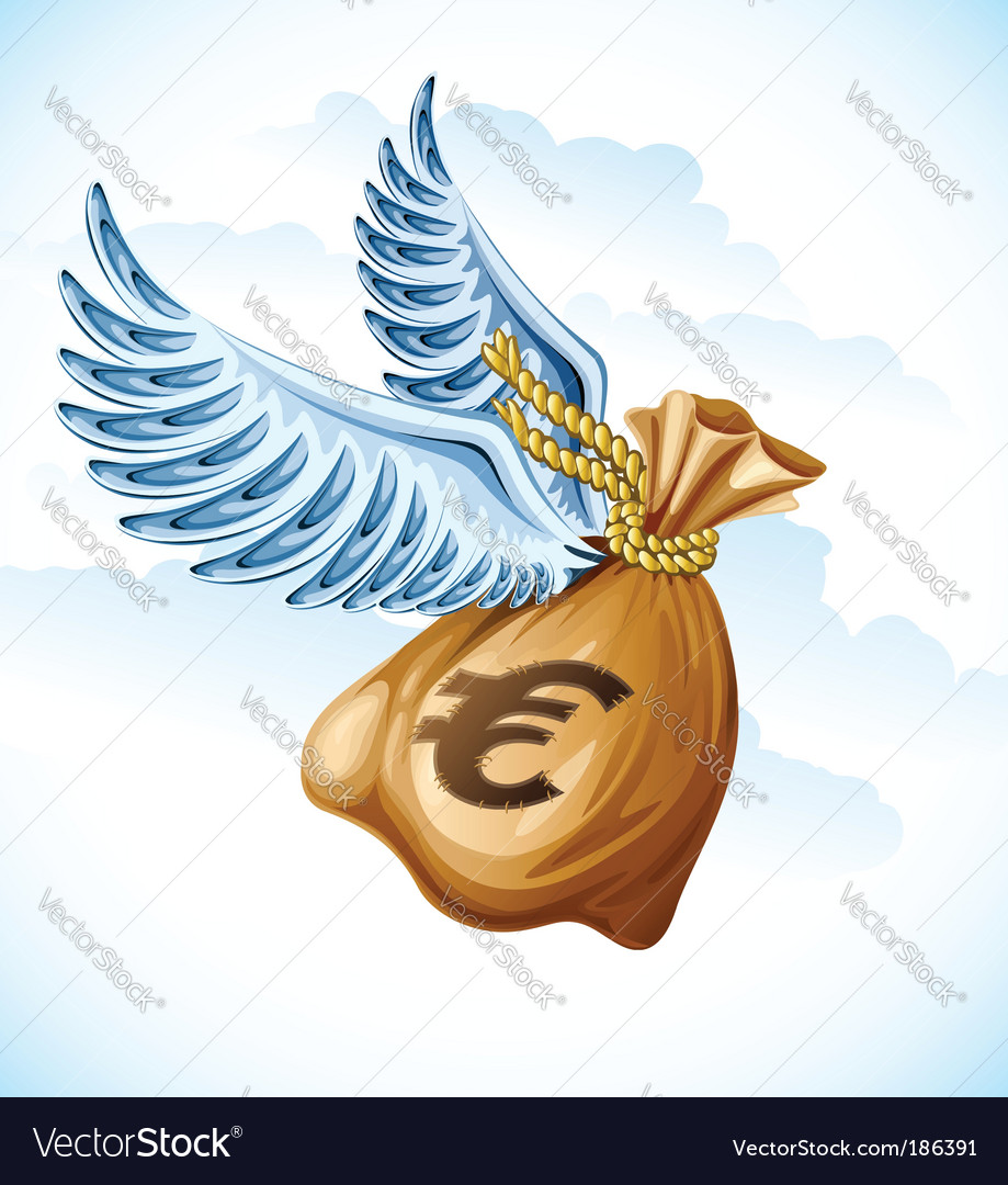 Flying sack of euro money vector | Price: 3 Credit (USD $3)