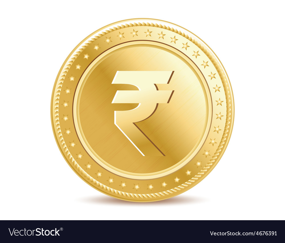 Golden isolated rupee coin on the white background vector | Price: 1 Credit (USD $1)