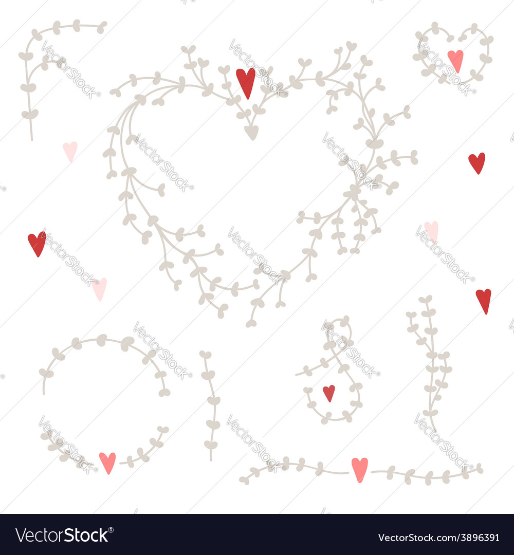 Hand drawn set with wreaths and red hearts vector | Price: 1 Credit (USD $1)