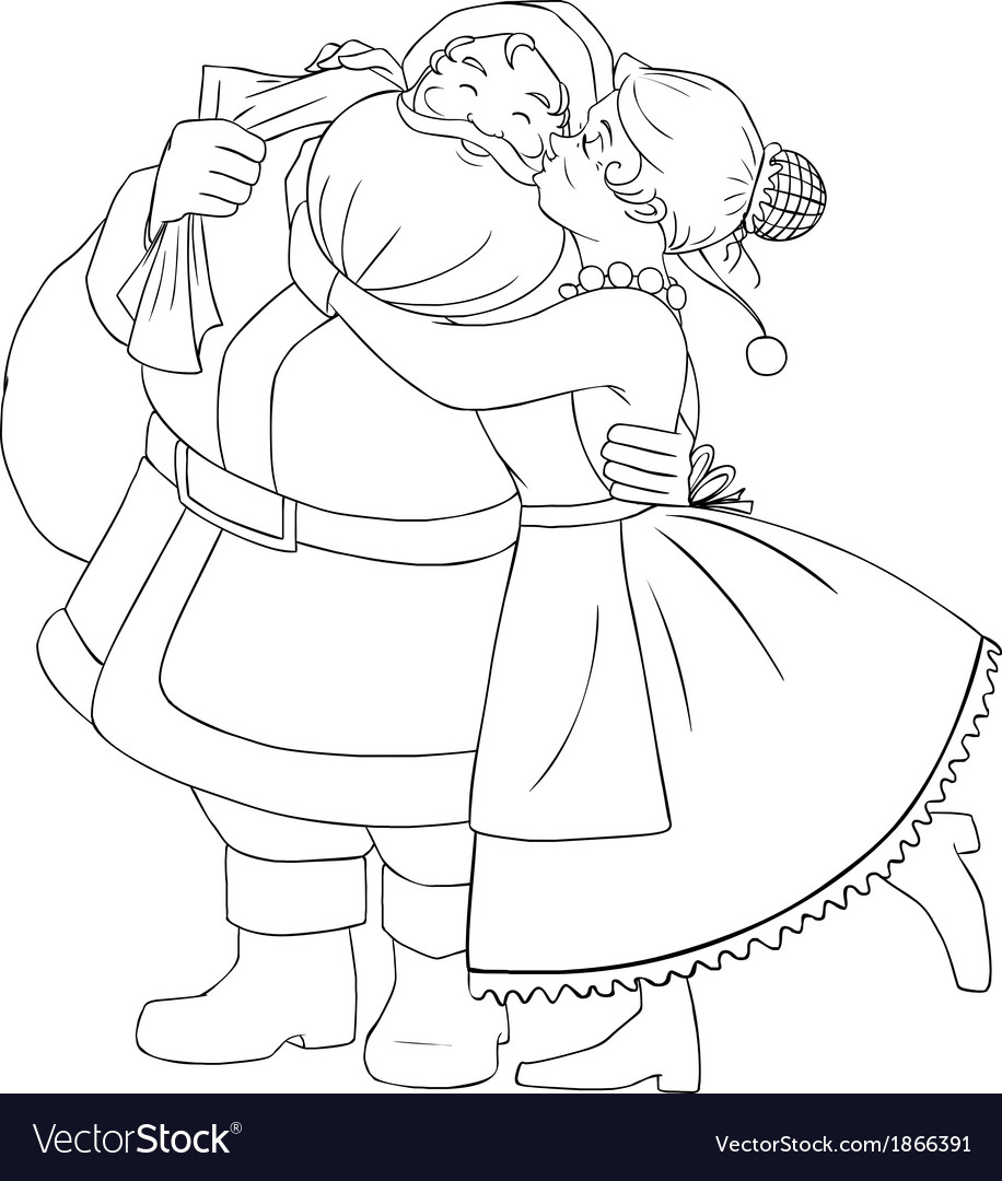 Mrs claus kisses santa on cheek and hugs coloring vector | Price: 1 Credit (USD $1)